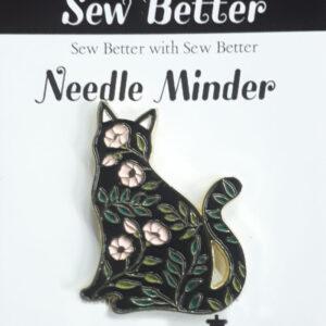 Sew Better Cross Stitch Needle Minder Keeper FLORAL CAT