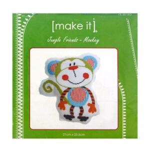 Make It Cross Stitch JUNGLE FRIENDS MONKEY Kit New X Stitch 581303
