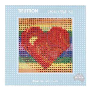 BEUTRON Cross Stitch Kit For Beginner HEART 14x14cm