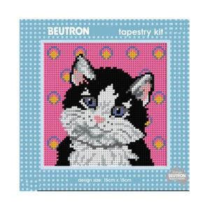 Beautron Handmade Tapestry Kit Beginner SALT and PEPPER CAT 585112