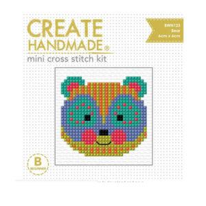 Create Handmade Cross Stitch Kit Beginner BEAR 6x6cm