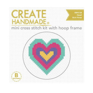 Create Handmade Cross Stitch Kit With Hoop COLOURED HEART 8cm