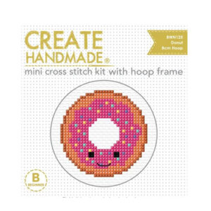 Create Handmade Cross Stitch Kit With Hoop DONUT 8cm