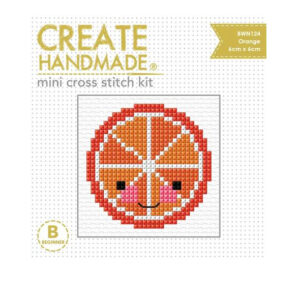 Create Handmade Cross Stitch Kit Beginner ORANGE 6x6cm
