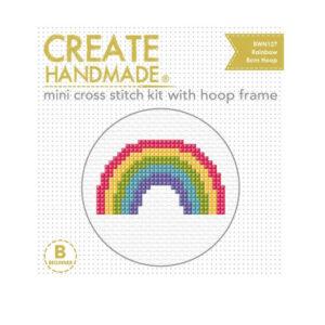 Create Handmade Cross Stitch Kit With Hoop RAINBOW 8cm