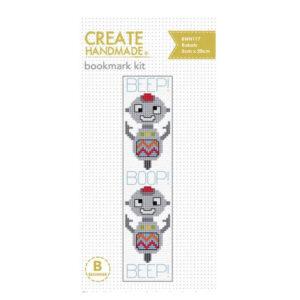 Create Handmade Cross Stitch Bookmark Kit Beginner ROBOTS 20x5cm