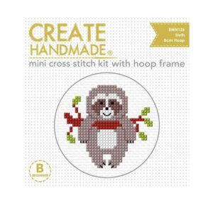 Create Handmade Cross Stitch Kit With Hoop SLOTH 8cm