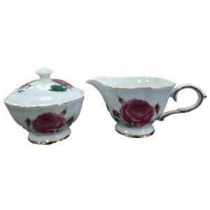 Fine English China Kitchen Sugar and Creamer PEBBLED ROSE Set of 2