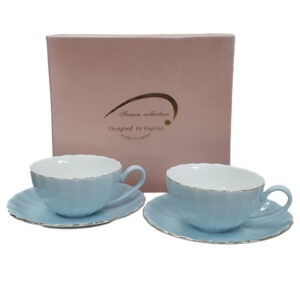Fine English China Kitchen Tea Cups and Saucers POWDER BLUE Set of 2