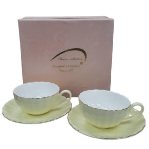 Fine English China Kitchen Tea Cups and Saucers LEMON Set of 2