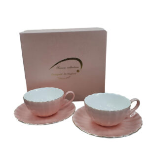 Fine English China Kitchen Tea Cups and Saucers BLUSH PINK Set of 2