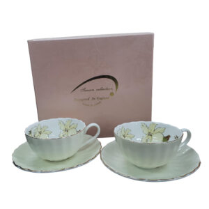 Fine English China Kitchen Tea Cups and Saucers PEBBLED FLOWER Set of 2