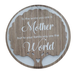 French Country Wooden Round Sign MOTHER WORLD Plaque Hang or Stand