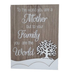 French Country Wooden Sign MOTHER FAMILY WORLD Tree Plaque Hang or Stand