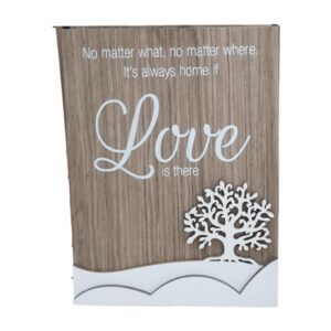 French Country Wooden Sign LOVE IS THERE Tree Plaque Hang or Stand