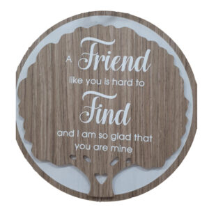 French Country Wooden Round Sign FRIEND HARD TO FIND Plaque Hang or Stand