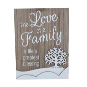 French Country Wooden Sign LOVE OF A FAMILY Tree Plaque Hang or Stand