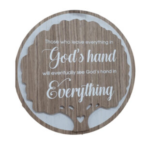 French Country Wooden Round Sign GODS HAND Plaque Hang or Stand