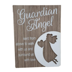French Country Wooden Sign GUARDIAN ANGEL Tree Plaque Hang or Stand
