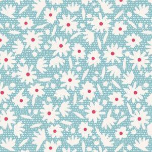 Quilting Patchwork Fabric TILDA BON VOYAGE PAPERFLOWER TEAL 50x55cm FQ