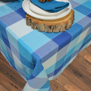French Country Table Cloth RANS DOBBY CHECK AQUA Tablecloth 150x300cm