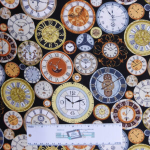 Quilting Patchwork Fabric BACK IN TIME CLOCKS 50x55cm FQ