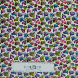 Quilting Patchwork Fabric CATITUDE HEARTS ALLOVER 50x55cm FQ