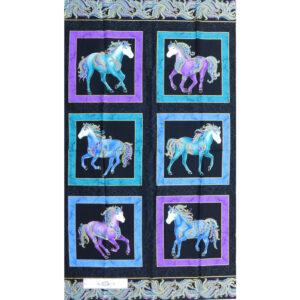 Patchwork Quilting Sewing Fabric HORSEN AROUND Panel 62x110cm