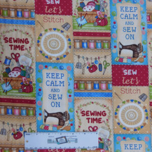 Quilting Patchwork Fabric STITCHING SEWING TIME 50x55cm FQ