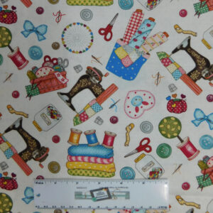 Quilting Patchwork Fabric SEW LETS STITCH Allover 50x55cm FQ