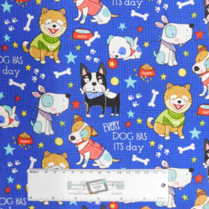 Quilting Patchwork Fabric DOG DAYS BLUE 50x55cm Sewing FQ