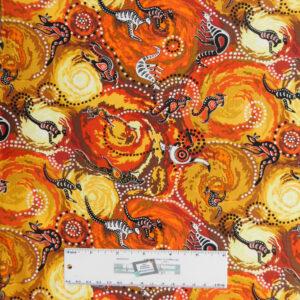 Quilting Patchwork Fabric DILKARA KANGAROOS Aboriginal 50x55cm FQ