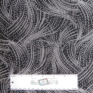 Quilting Patchwork Fabric BLACK SPOTTED WAVES 50x55cm FQ