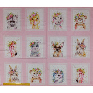 Patchwork Quilting Sewing Fabric LITTLE DARLINGS ANIMALS Panel 92x110cm
