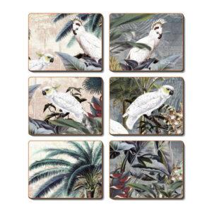 Dining Kitchen UTOPIA BIRDS Cinnamon Cork Backed Coasters Set 6