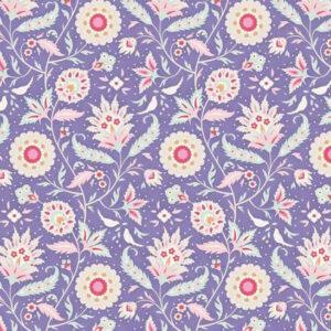 Quilting Patchwork Fabric TILDA BON VOYAGE BIRDVINE BLUE 50x55cm FQ