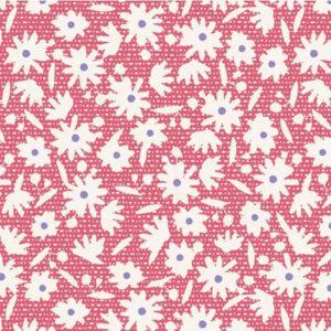 Quilting Patchwork Fabric TILDA BON VOYAGE PAPERFLOWER RED 50x55cm FQ