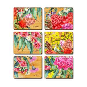 Kitchen NATIVE FLOWERS Cinnamon Cork Backed Placemats Set 6
