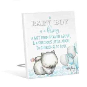 French Country Vintage Wooden CRITTERS Baby Blessing Blue Sign
