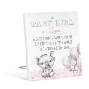French Country Vintage Wooden CRITTERS Baby Blessing Pink Sign