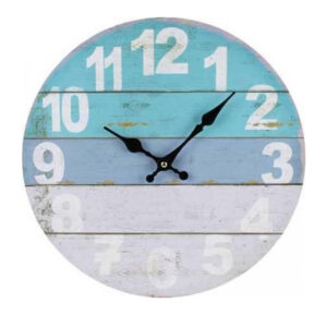 Clocks Wall Hanging White Dipped Blue Boards Clock 34cm