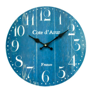 Clocks Wall Hanging Cote D'Azure Blue Boards Clock 34cm