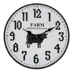 Clocks Wall Hanging Farm Cow Black on White Clock 34cm