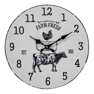Clocks Wall Hanging Farm Animal Stack Black on White Clock 34cm