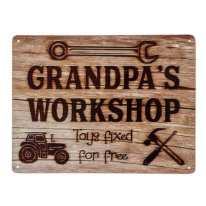 Country Metal Tin Sign Wall Art Grandpas Workshop Plaque