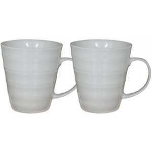 French Country Chic Kitchen Tea Coffee Mugs CLASSIC WHITE Set of 2