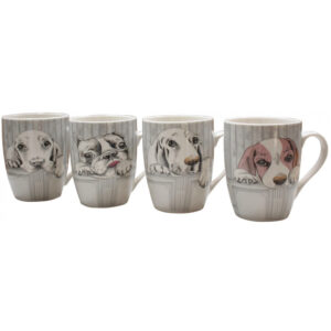 French Country Chic Kitchen Tea Coffee Mugs DOGS Set of 4