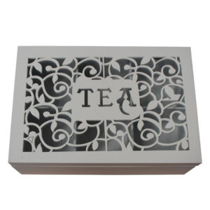 French Country Tea Bag Box ORNATE SCROLLS Wood Teabag Holder