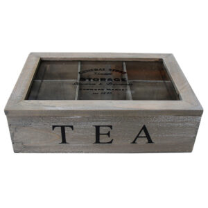French Country Tea Bag Box Rustic Timber Wood Teabag Holder