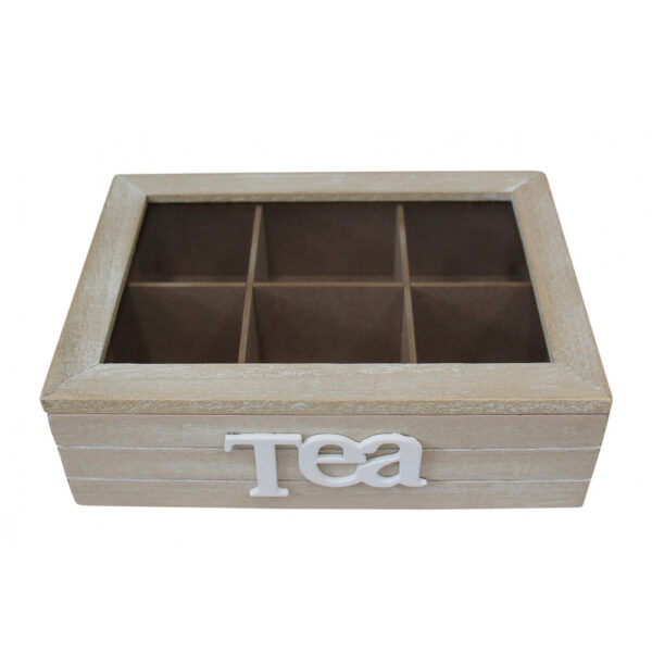 French Country Tea Bag Box Classic Timber Wood Teabag Holder